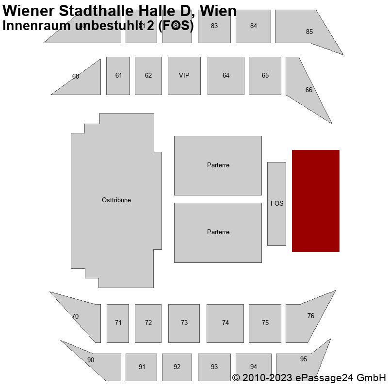 Saalplan Wiener Stadthalle Halle D, Wien, Österreich, Innenraum unbestuhlt 2 (FOS)