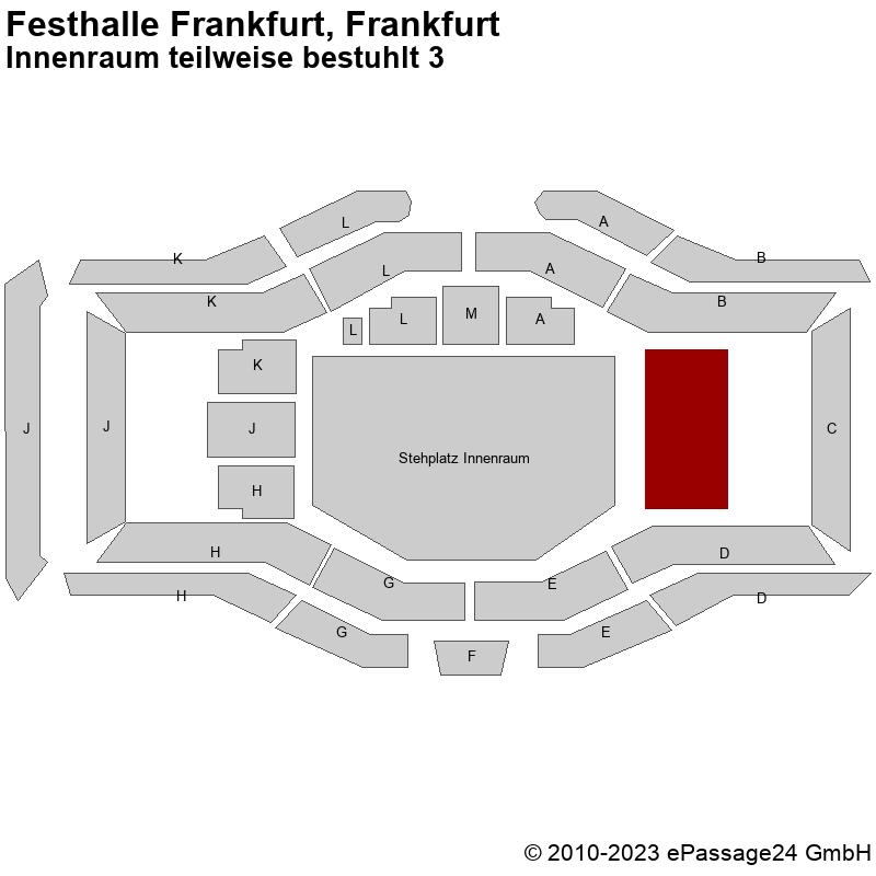 Saalplan Festhalle Frankfurt, Frankfurt, Deutschland, Innenraum teilweise bestuhlt 3
