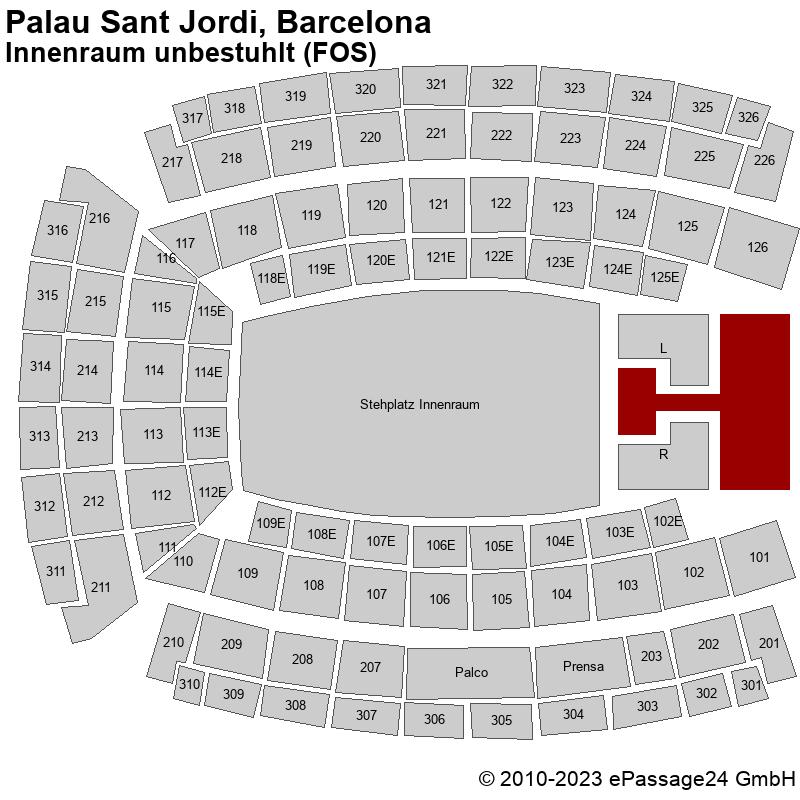 Saalplan Palau Sant Jordi, Barcelona, Spanien, Innenraum unbestuhlt (FOS)