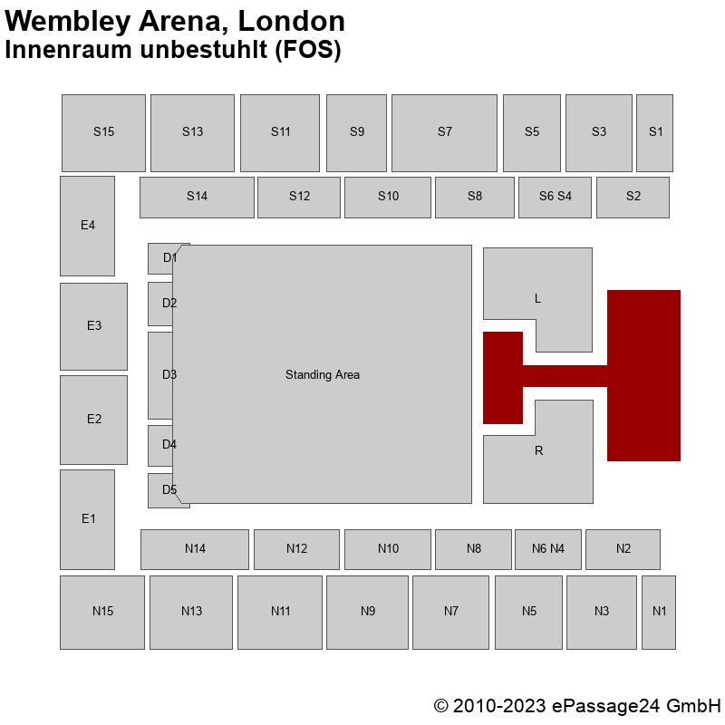 Saalplan Wembley Arena, London, Großbritannien, Innenraum unbestuhlt (FOS)