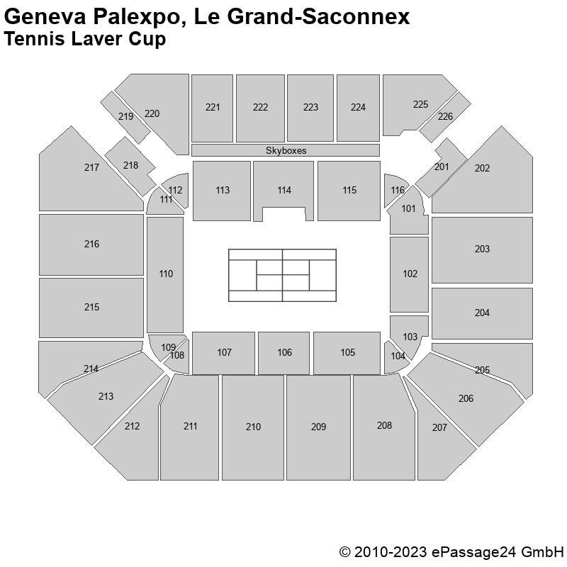 Saalplan Geneva Palexpo, Le Grand-Saconnex, Schweiz, Tennis Laver Cup