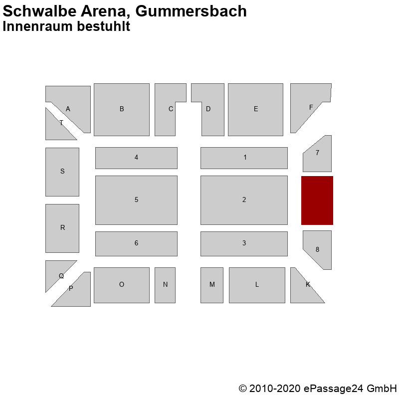 Saalplan Schwalbe Arena, Gummersbach, Deutschland, Innenraum bestuhlt