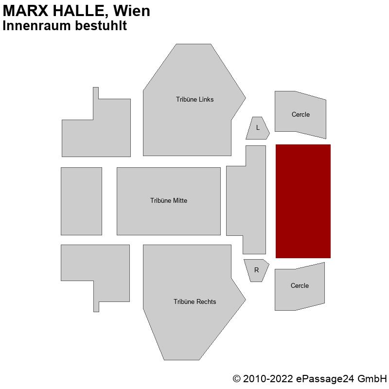 Saalplan MARX HALLE, Wien, Österreich, Innenraum bestuhlt