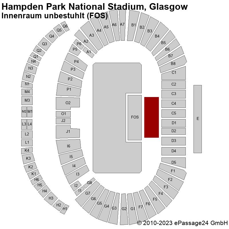 Saalplan Hampden Park National Stadium, Glasgow, Großbritannien, Innenraum unbestuhlt (FOS)