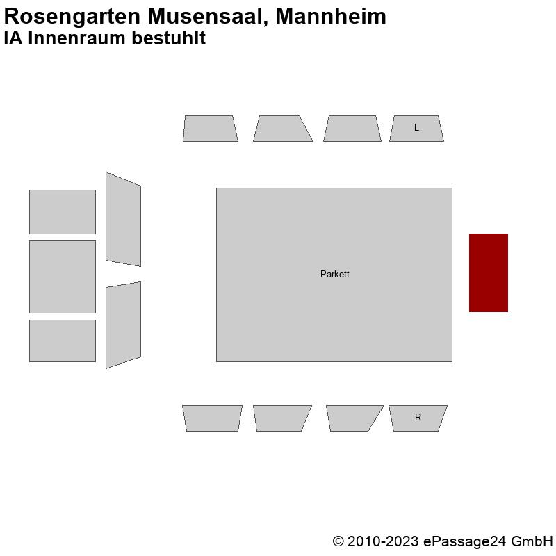 Saalplan Rosengarten Musensaal, Mannheim, Deutschland, IA Innenraum bestuhlt