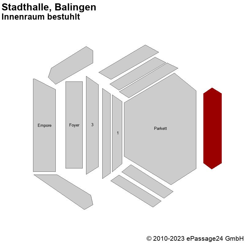 Saalplan Stadthalle, Balingen, Deutschland, Innenraum bestuhlt