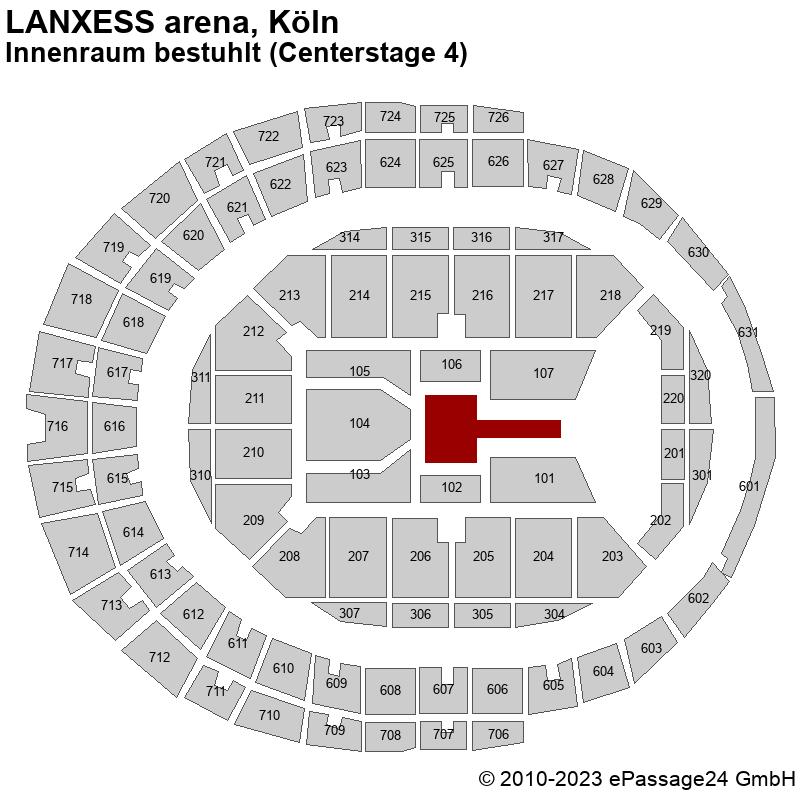 Saalplan LANXESS arena, Köln, Deutschland, Innenraum bestuhlt (Centerstage 4)