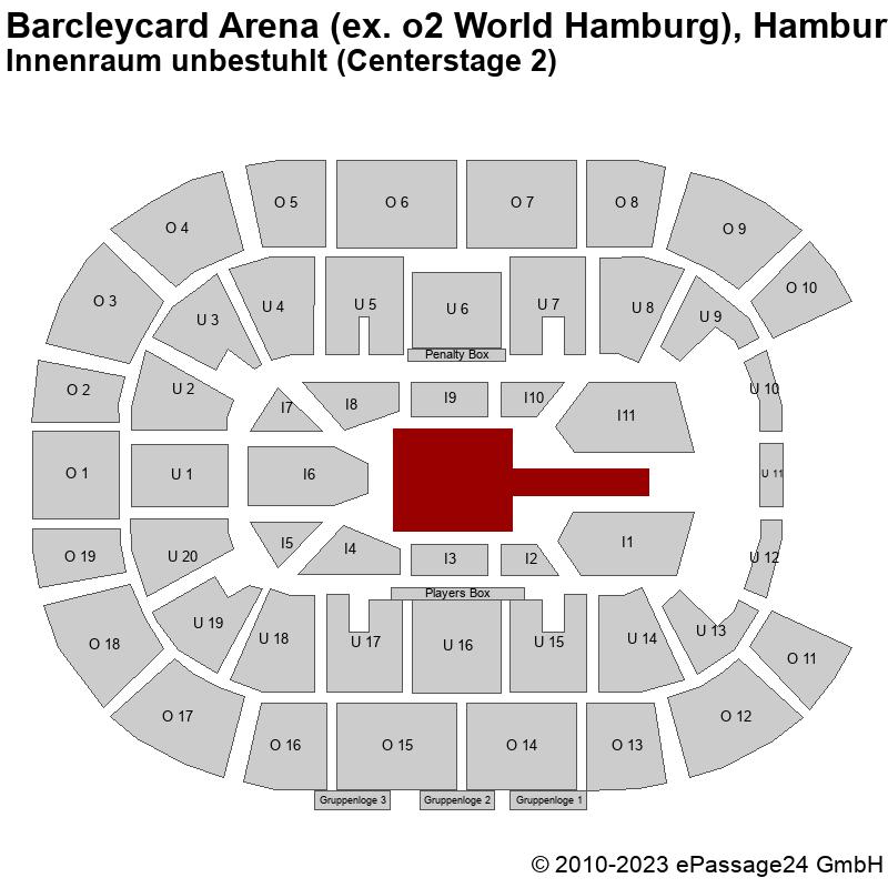Saalplan Barcleycard Arena (ex. o2 World Hamburg), Hamburg, Deutschland, Innenraum unbestuhlt (Centerstage 2)