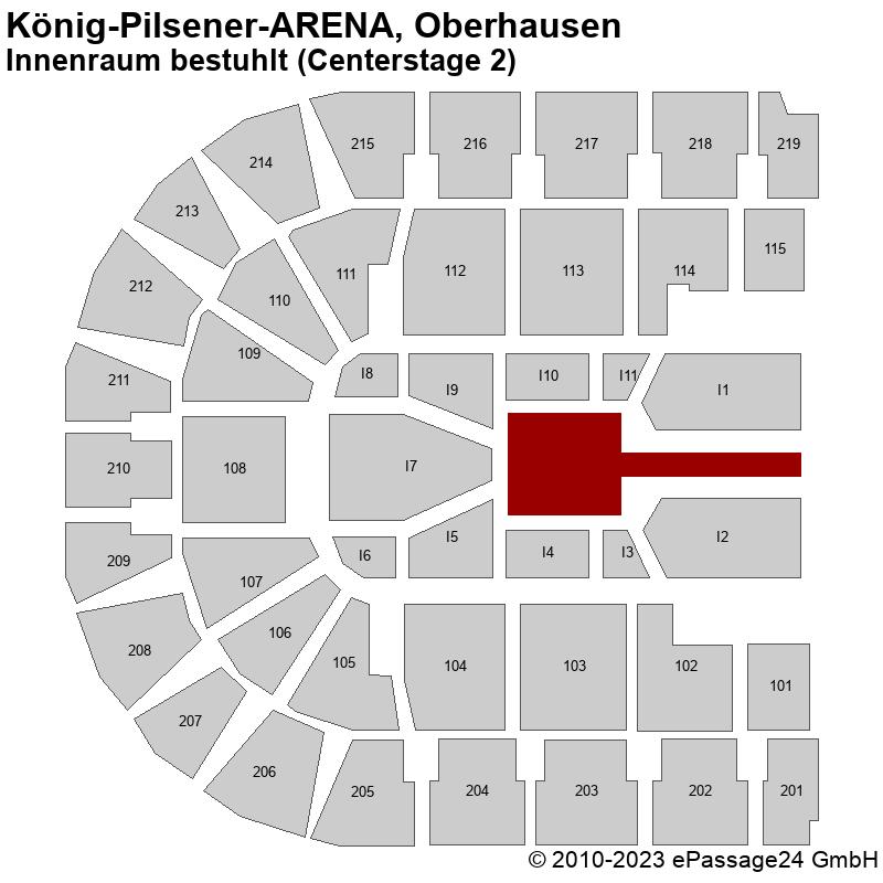 Saalplan König-Pilsener-ARENA, Oberhausen, Deutschland, Innenraum bestuhlt (Centerstage 2)