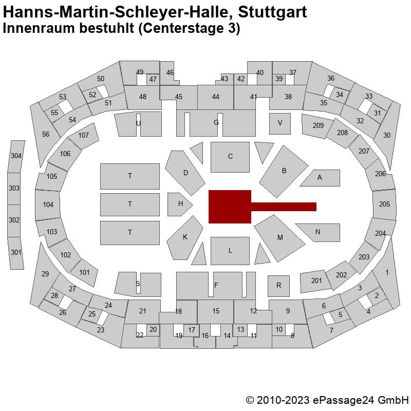 Saalplan Hanns-Martin-Schleyer-Halle, Stuttgart, Deutschland, Innenraum bestuhlt (Centerstage 3)