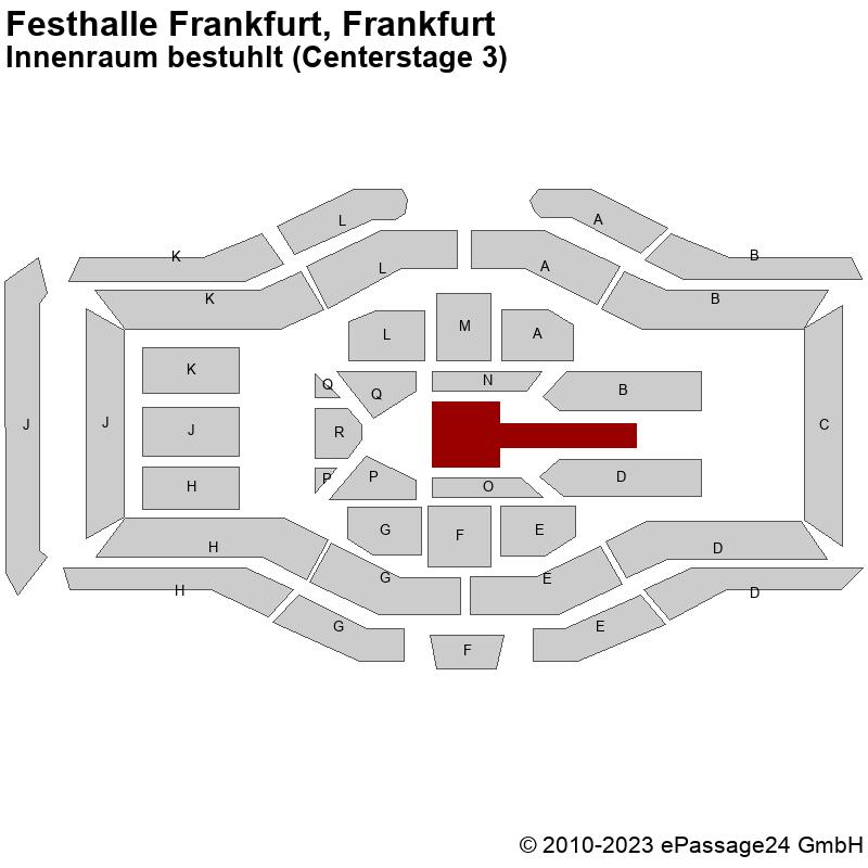 Saalplan Festhalle Frankfurt, Frankfurt, Deutschland, Innenraum bestuhlt (Centerstage 3)