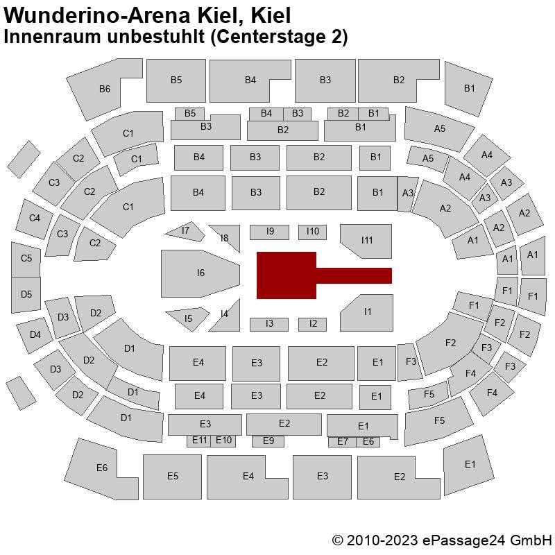 Saalplan Wunderino-Arena Kiel, Kiel, Deutschland, Innenraum unbestuhlt (Centerstage 2)