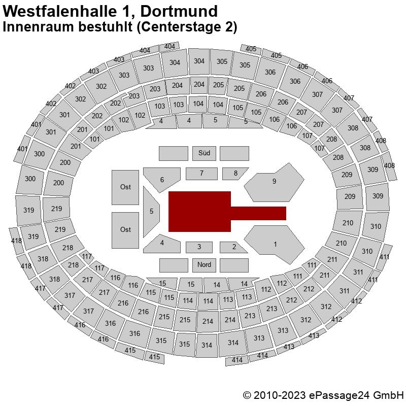 Saalplan Westfalenhalle 1, Dortmund, Deutschland, Innenraum bestuhlt (Centerstage 2)