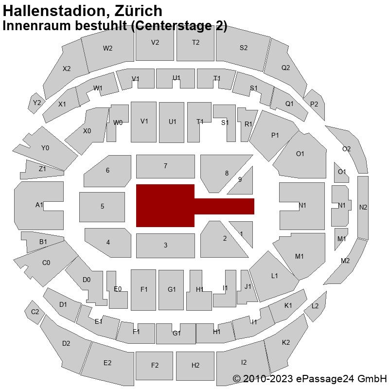 Saalplan Hallenstadion, Zürich, Schweiz, Innenraum bestuhlt (Centerstage 2)