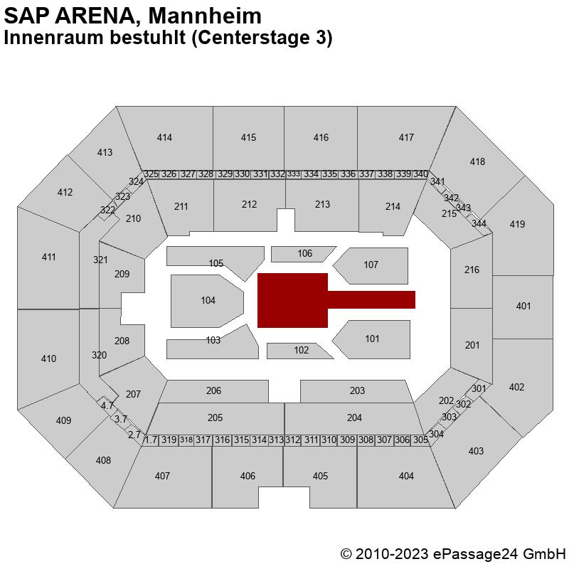 Saalplan SAP ARENA, Mannheim, Deutschland, Innenraum bestuhlt (Centerstage 3)