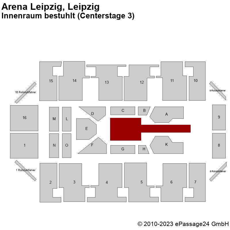 Saalplan Arena Leipzig, Leipzig, Deutschland, Innenraum bestuhlt (Centerstage 3)