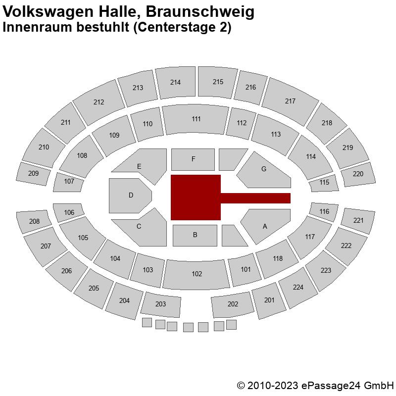 Saalplan Volkswagen Halle, Braunschweig, Deutschland, Innenraum bestuhlt (Centerstage 2)