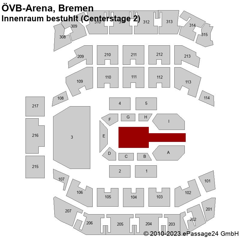 Saalplan ÖVB-Arena, Bremen, Deutschland, Innenraum bestuhlt (Centerstage 2)