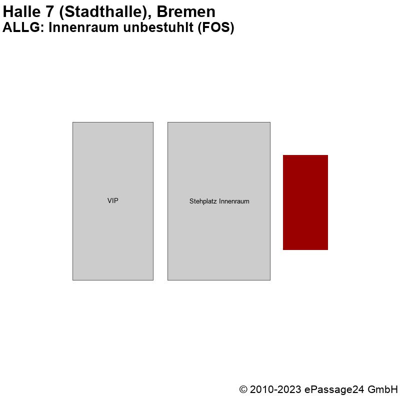 Saalplan Halle 7 (Stadthalle), Bremen, Deutschland, ALLG: Innenraum unbestuhlt (FOS)