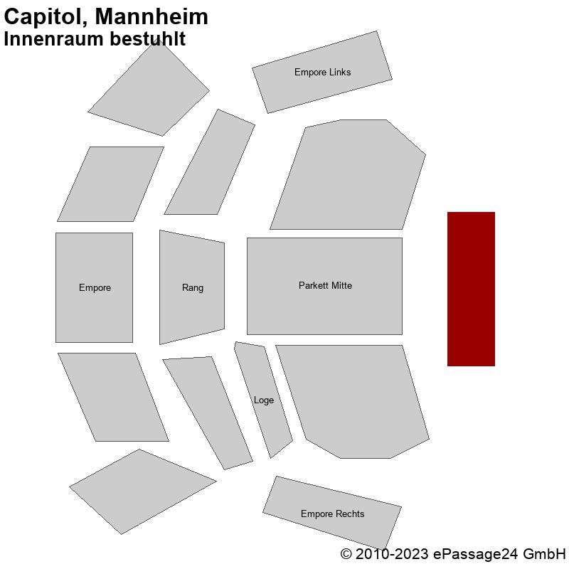 Saalplan Capitol, Mannheim, Deutschland, Innenraum bestuhlt