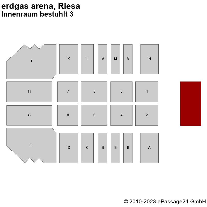 Saalplan erdgas arena, Riesa, Deutschland, Innenraum bestuhlt 3