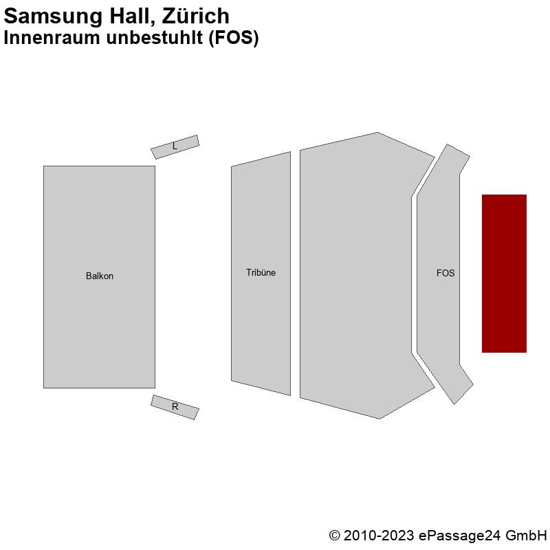 Saalplan Samsung Hall, Zürich, Schweiz, Innenraum unbestuhlt (FOS)