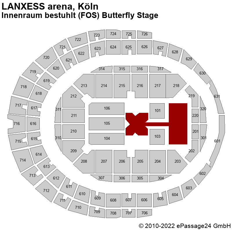 Saalplan LANXESS arena, Köln, Deutschland, Innenraum bestuhlt (FOS) Butterfly Stage