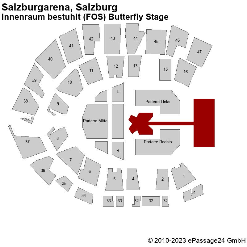 Saalplan Salzburgarena, Salzburg, Österreich, Innenraum bestuhlt (FOS) Butterfly Stage