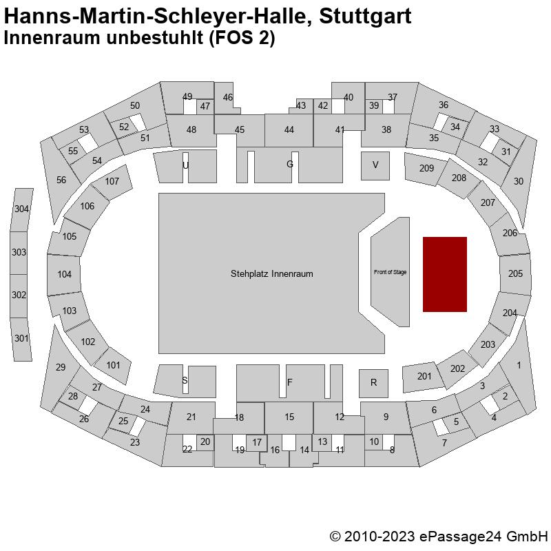 Saalplan Hanns-Martin-Schleyer-Halle, Stuttgart, Deutschland, Innenraum unbestuhlt (FOS 2)