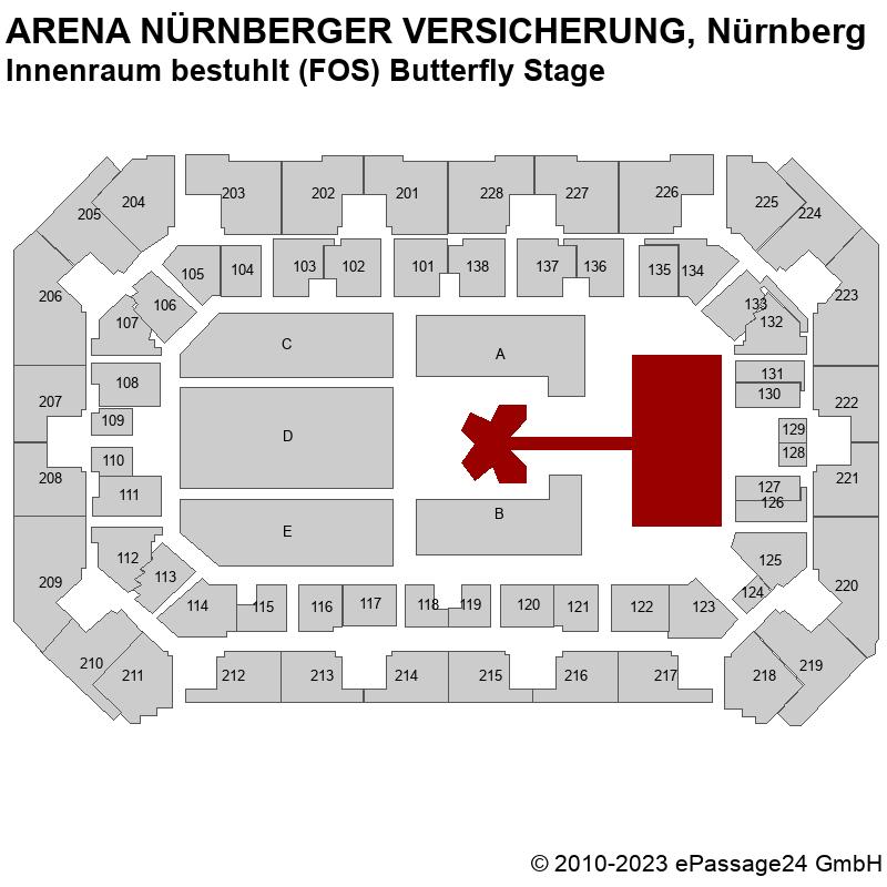Saalplan ARENA NÜRNBERGER VERSICHERUNG, Nürnberg, Deutschland, Innenraum bestuhlt (FOS) Butterfly Stage