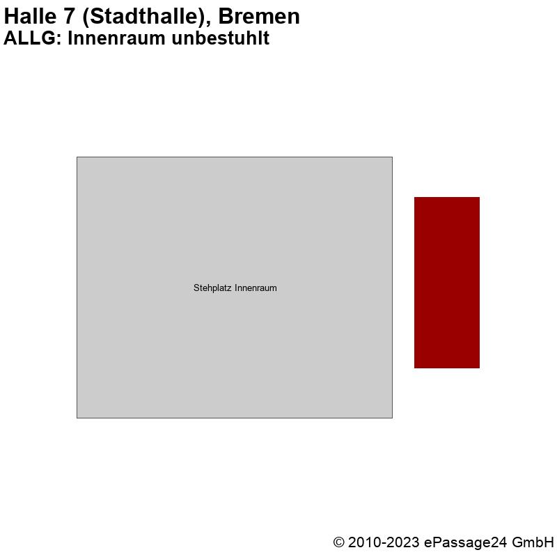 Saalplan Halle 7 (Stadthalle), Bremen, Deutschland, ALLG: Innenraum unbestuhlt