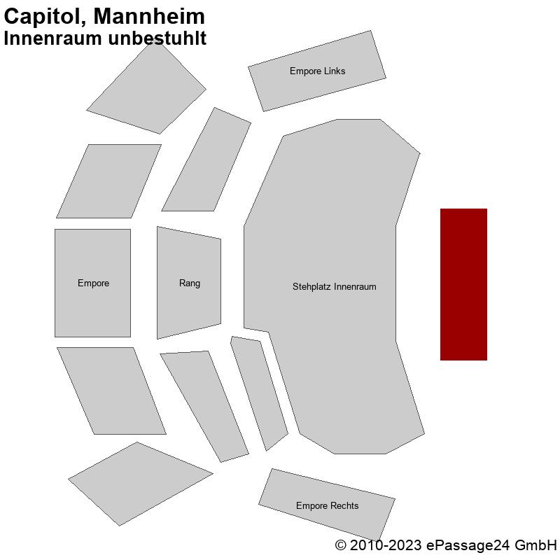 Saalplan Capitol, Mannheim, Deutschland, Innenraum unbestuhlt
