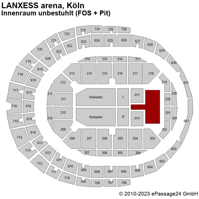 Saalplan LANXESS arena, Köln, Deutschland, Innenraum unbestuhlt (FOS + Pit)