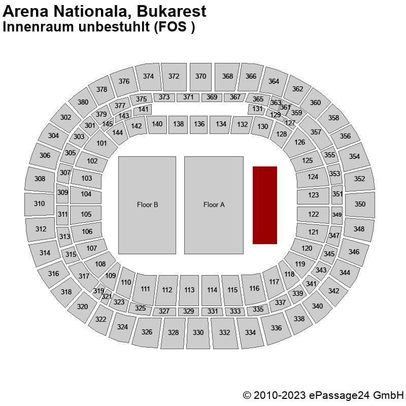 Saalplan Arena Nationala, Bukarest, Rumänien, Innenraum unbestuhlt (FOS )