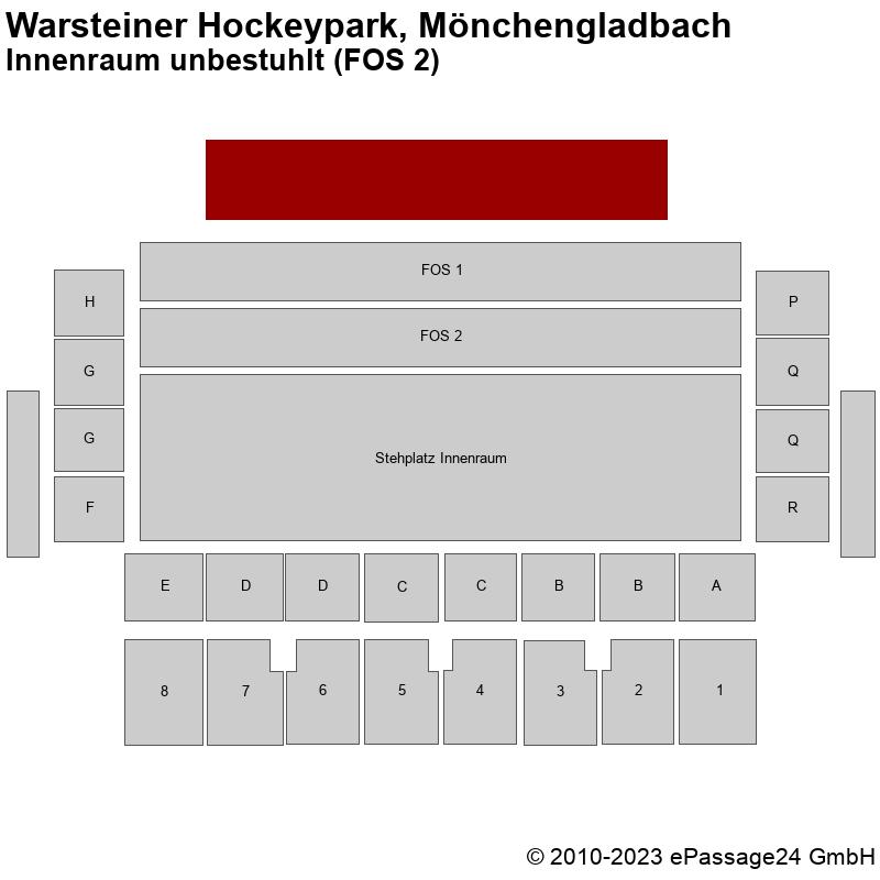 Saalplan Warsteiner Hockeypark, Mönchengladbach, Deutschland, Innenraum unbestuhlt (FOS 2)