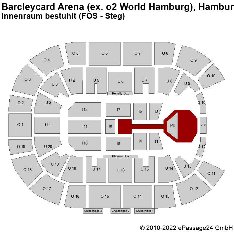 Saalplan Barcleycard Arena (ex. o2 World Hamburg), Hamburg, Deutschland, Innenraum bestuhlt (FOS - Steg)