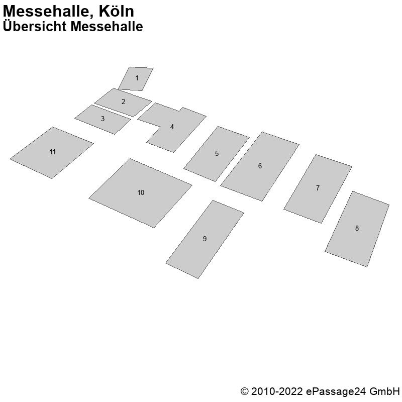 Saalplan Messehalle, Köln, Deutschland, Übersicht Messehalle