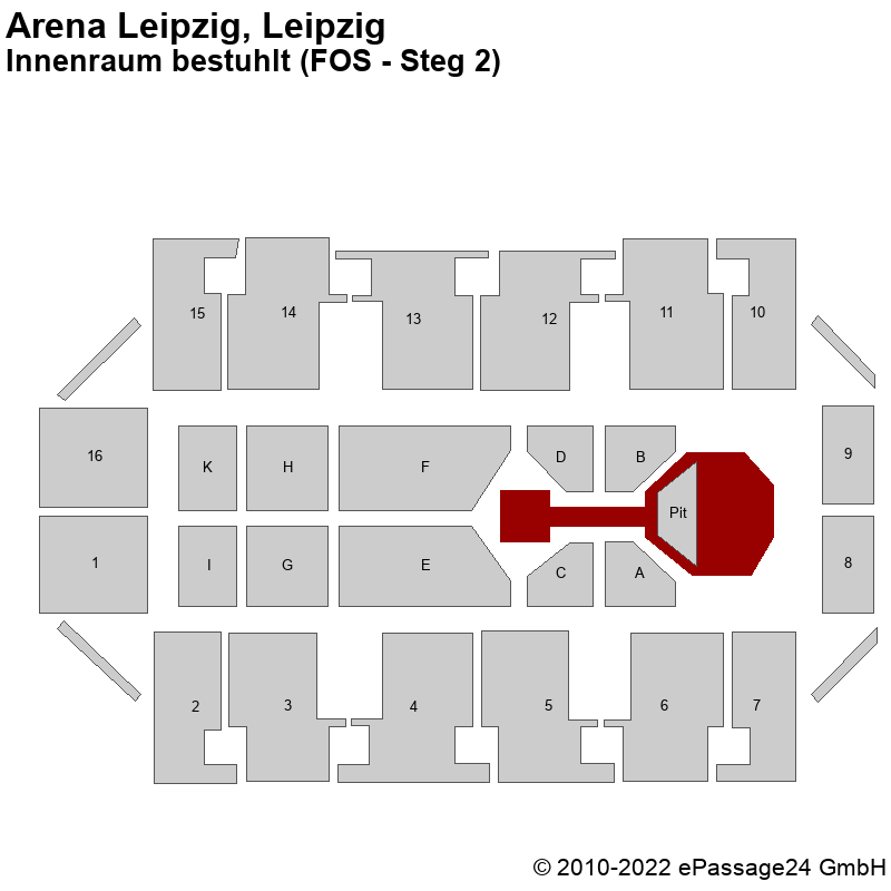 Saalplan Arena Leipzig, Leipzig, Deutschland, Innenraum bestuhlt (FOS - Steg 2)