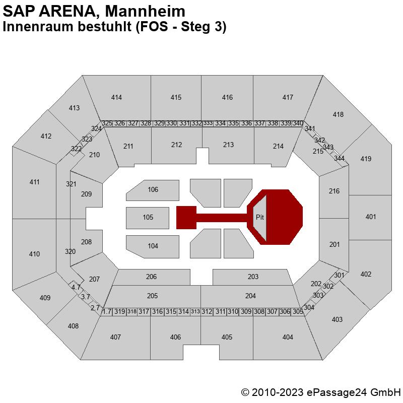 Saalplan SAP ARENA, Mannheim, Deutschland, Innenraum bestuhlt (FOS - Steg 3)