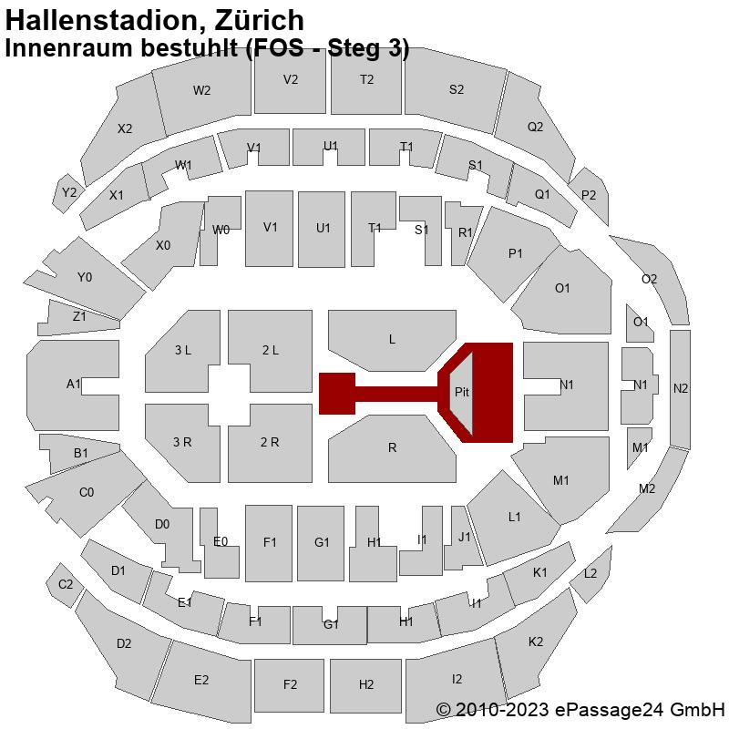 Saalplan Hallenstadion, Zürich, Schweiz, Innenraum bestuhlt (FOS - Steg 3)