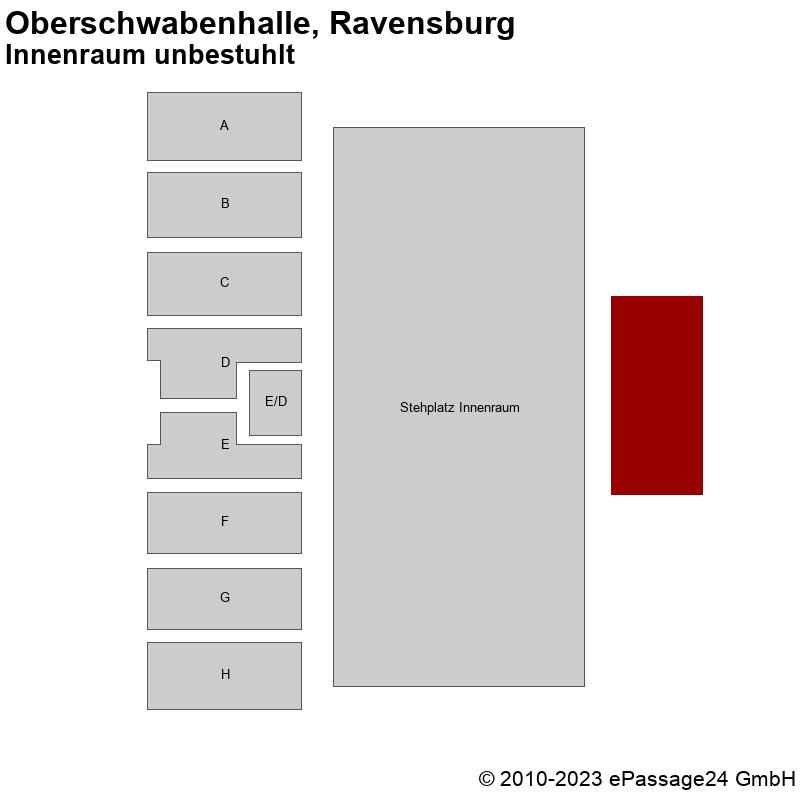 Saalplan Oberschwabenhalle, Ravensburg, Deutschland, Innenraum unbestuhlt
