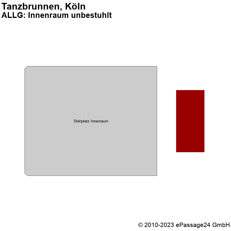 Saalplan Tanzbrunnen, Köln, Deutschland, ALLG: Innenraum unbestuhlt