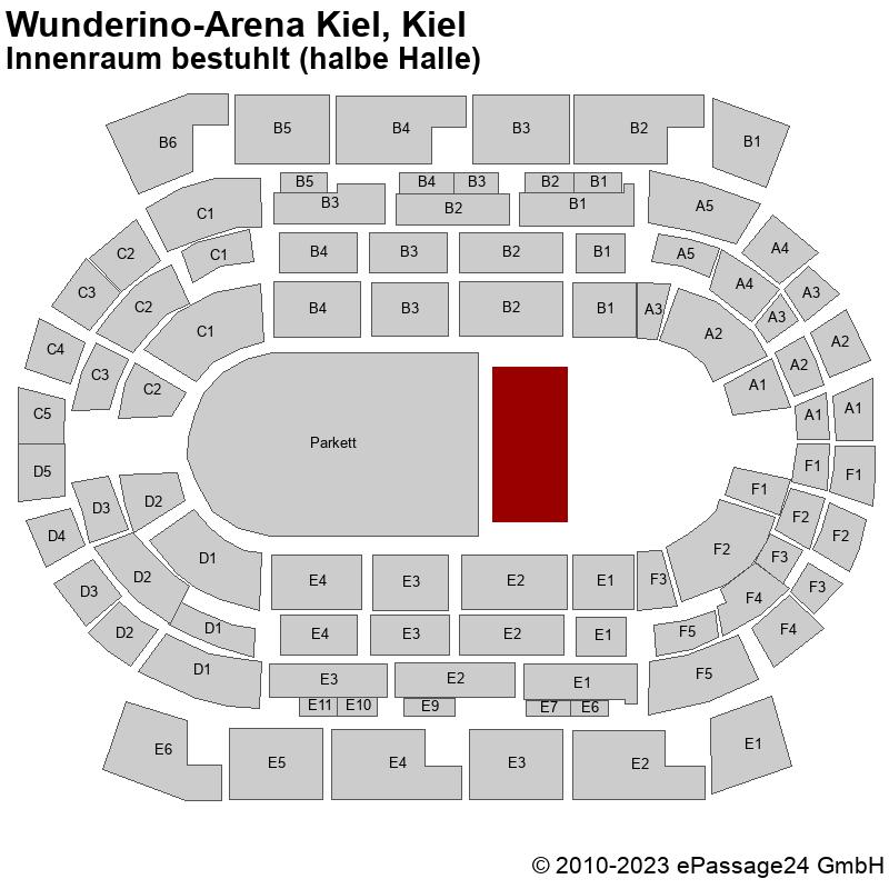 Saalplan Wunderino-Arena Kiel, Kiel, Deutschland, Innenraum bestuhlt (halbe Halle)