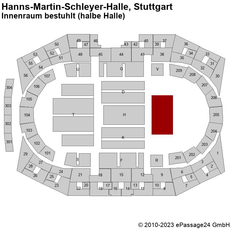 Saalplan Hanns-Martin-Schleyer-Halle, Stuttgart, Deutschland, Innenraum bestuhlt (halbe Halle)