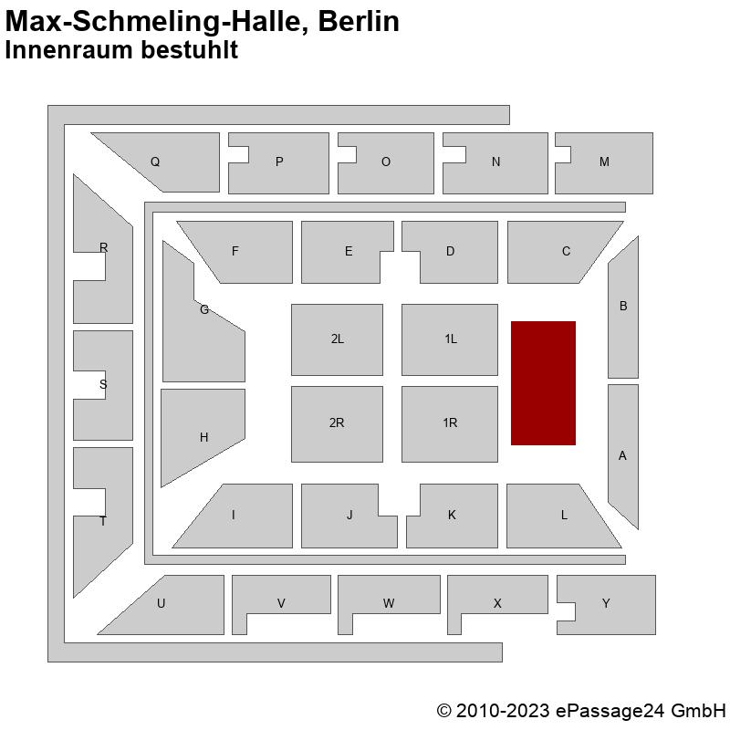 Saalplan Max-Schmeling-Halle, Berlin, Deutschland, Innenraum bestuhlt