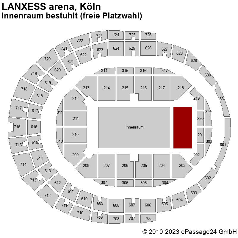 Saalplan LANXESS arena, Köln, Deutschland, Innenraum bestuhlt (freie Platzwahl)