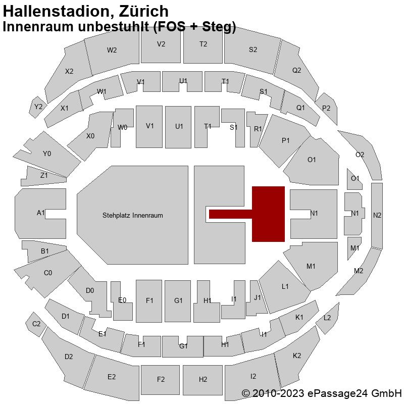 Saalplan Hallenstadion, Zürich, Schweiz, Innenraum unbestuhlt (FOS + Steg)