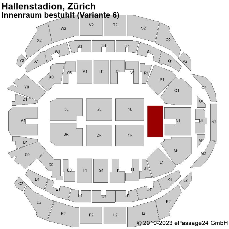 Saalplan Hallenstadion, Zürich, Schweiz, Innenraum bestuhlt (Variante 6)
