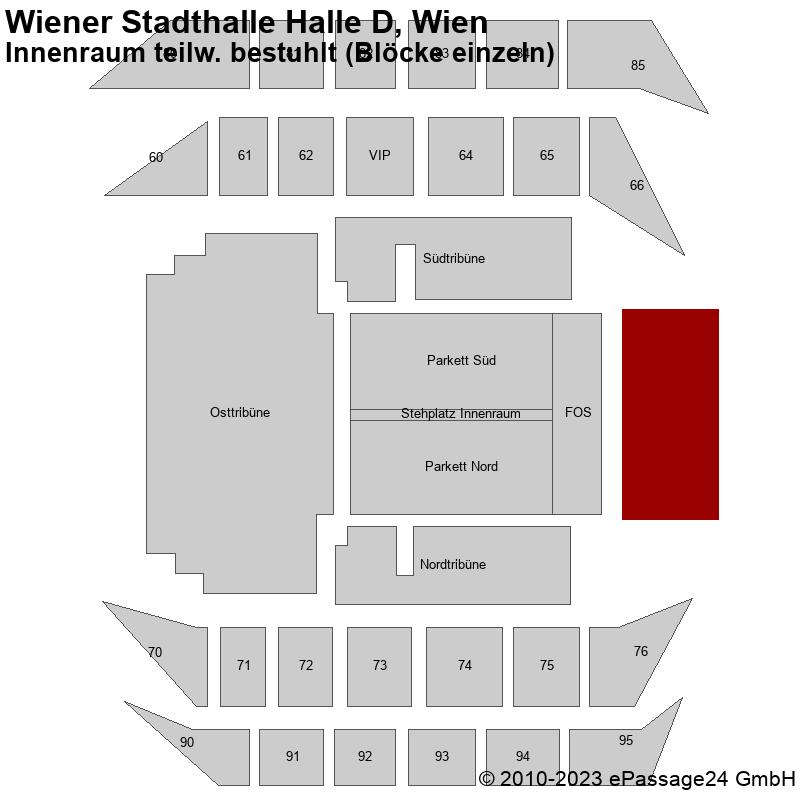 Saalplan Wiener Stadthalle Halle D, Wien, Österreich, Innenraum teilw. bestuhlt (Blöcke einzeln)