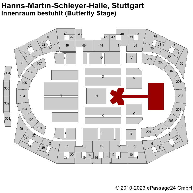 Saalplan Hanns-Martin-Schleyer-Halle, Stuttgart, Deutschland, Innenraum bestuhlt (Butterfly Stage)
